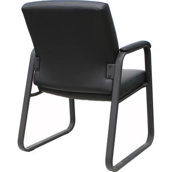 High-Back Mesh Guest Chair With Pu Leather Seat Black (BIFMA)