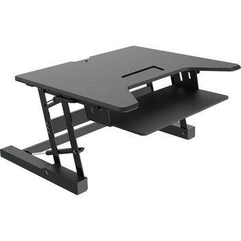 Premium Tabletop Adjustable Height 36 Inch Wide   Sit-Stand Riser Desk with Dedicated Keyboard Tray in Black, 88 Pound Weight Capacity