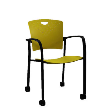 Eurotech STAQ Series Yellow Stacking Side Chair (4-Pack)