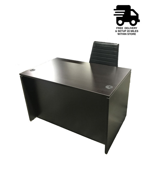 "Express 47"" Executive Desk With Hanging Box File and Eurotech Frasso Black Leather Chair"