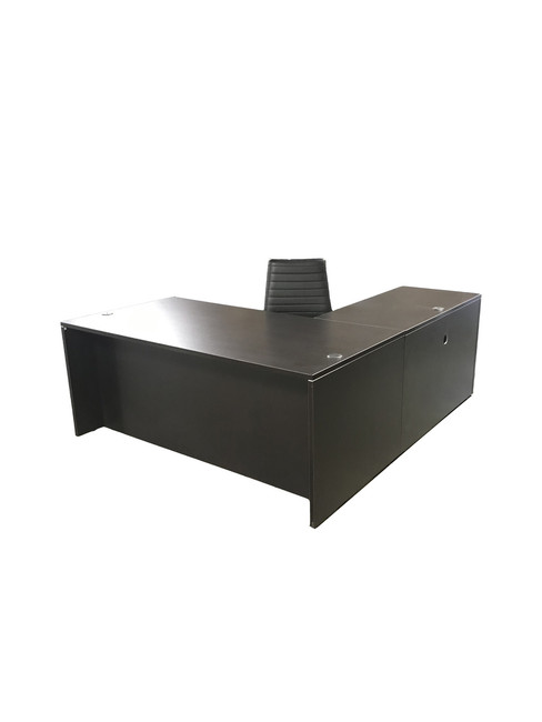 Express Dark Walnut Laminate L-Shape Desk with Box File and Eurotech Frasso Black Leather Chair