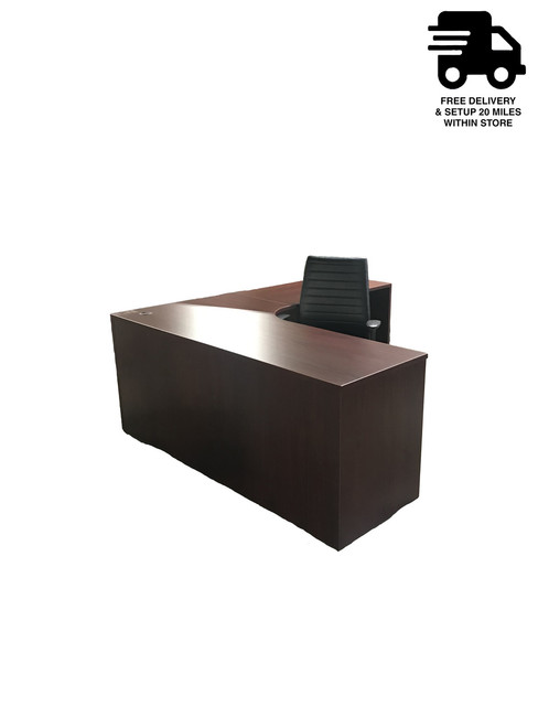 Eurotech Mahogany L-Shape Extended Corner Desk and Eurotech Frasso Black Leather Chair