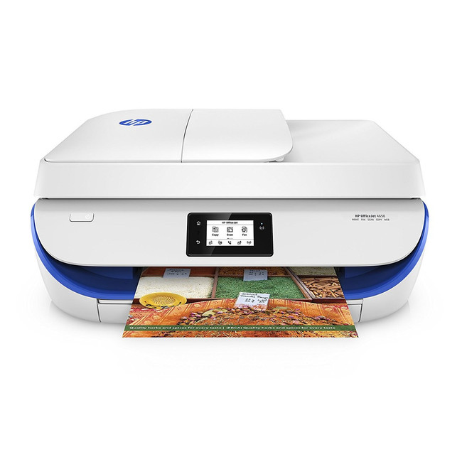HP OfficeJet 4650 Wireless All-in-One Photo Printer, in White and Blue