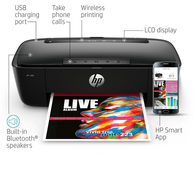 HP AMP 100 Inkjet All-in-One Printer With Integrated Smart AMP Bluetooth Speaker & HP Mobile Printing - in Black