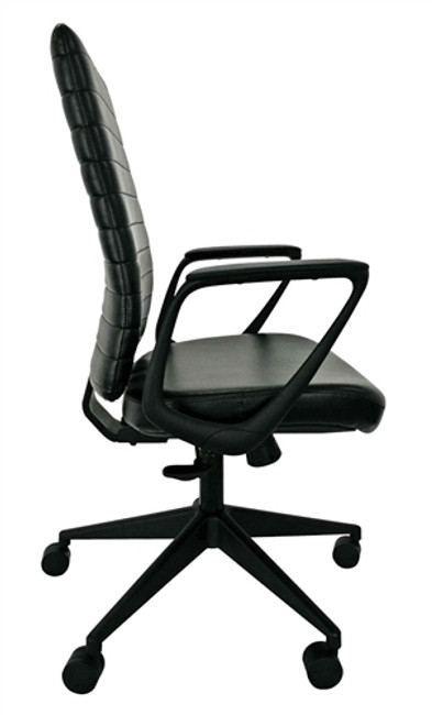 Eurotech Frasso Black Leather Mid Back Office Chair With Fixed Loop Arms