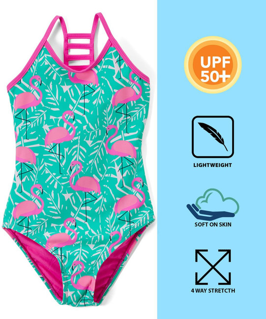 Girls Lattice Beach Sport One Piece Swimsuit UPF 50+ Sun Protection Caged Back (A-Pink Flamingo, 3T) (C)