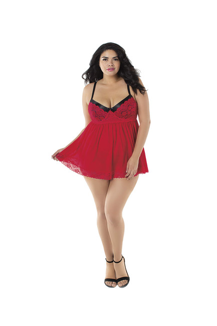 Dreamgirl Women's Plus Size Flirty Mesh & Lace Babydoll with Matching G-String, Ruby 3X (C)