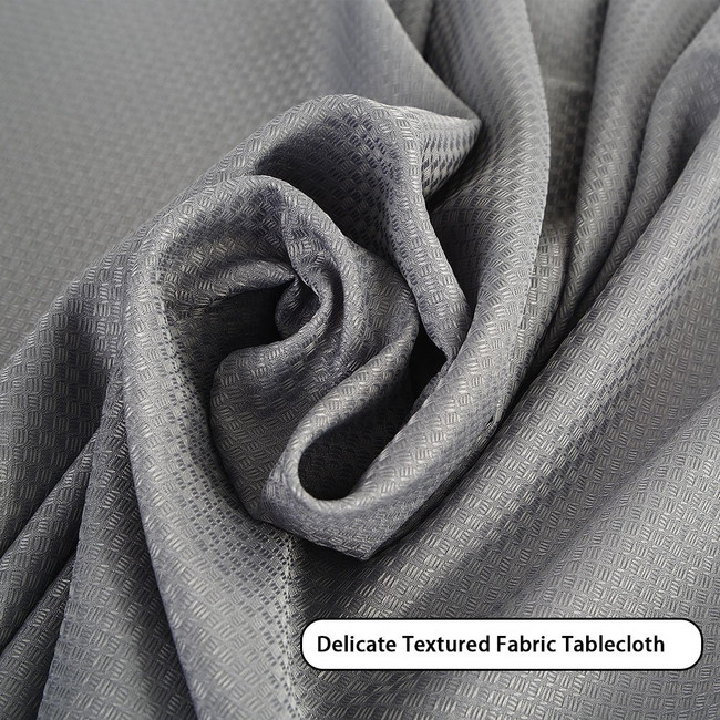 Rectangle Tablecloth - 60 x 120 Inch - Water Repellent Textured Rectangular Table Cloth for 8 Foot Table in Washable Polyester - Great for Buffet Table, Parties, Holiday Dinner, Wedding & More, Grey (C)