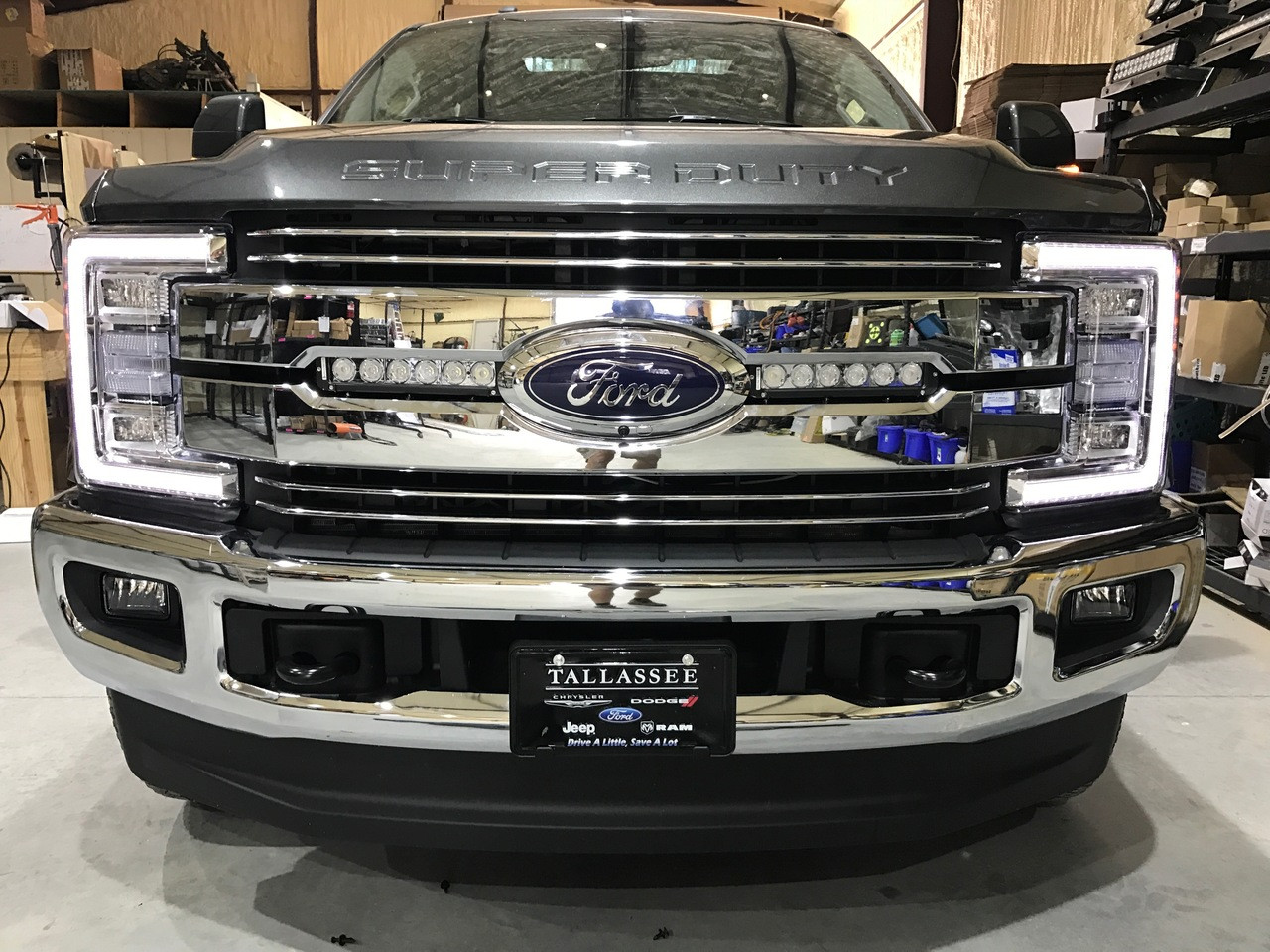 """***NEW**** 2017 F250/F350 Double Hidden Grille Mount LED Lights (Includes two 11"""" LED Light Bars, two hidden grille mounts, and wire harness)"""