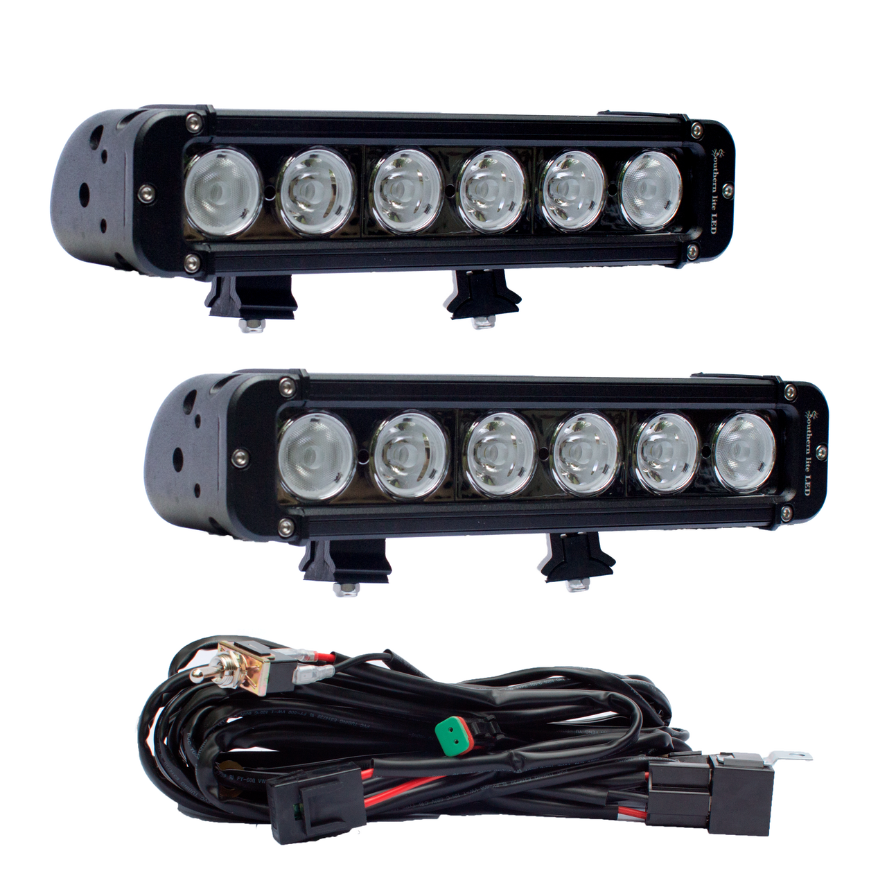 """Includes two: 11"""" Southern lite LED light bar - 60 Watts - over 6,000 Lumens each (over 12,000 Lumen total) - Spot/Flood Combo - Brackets and wiring harness included"""