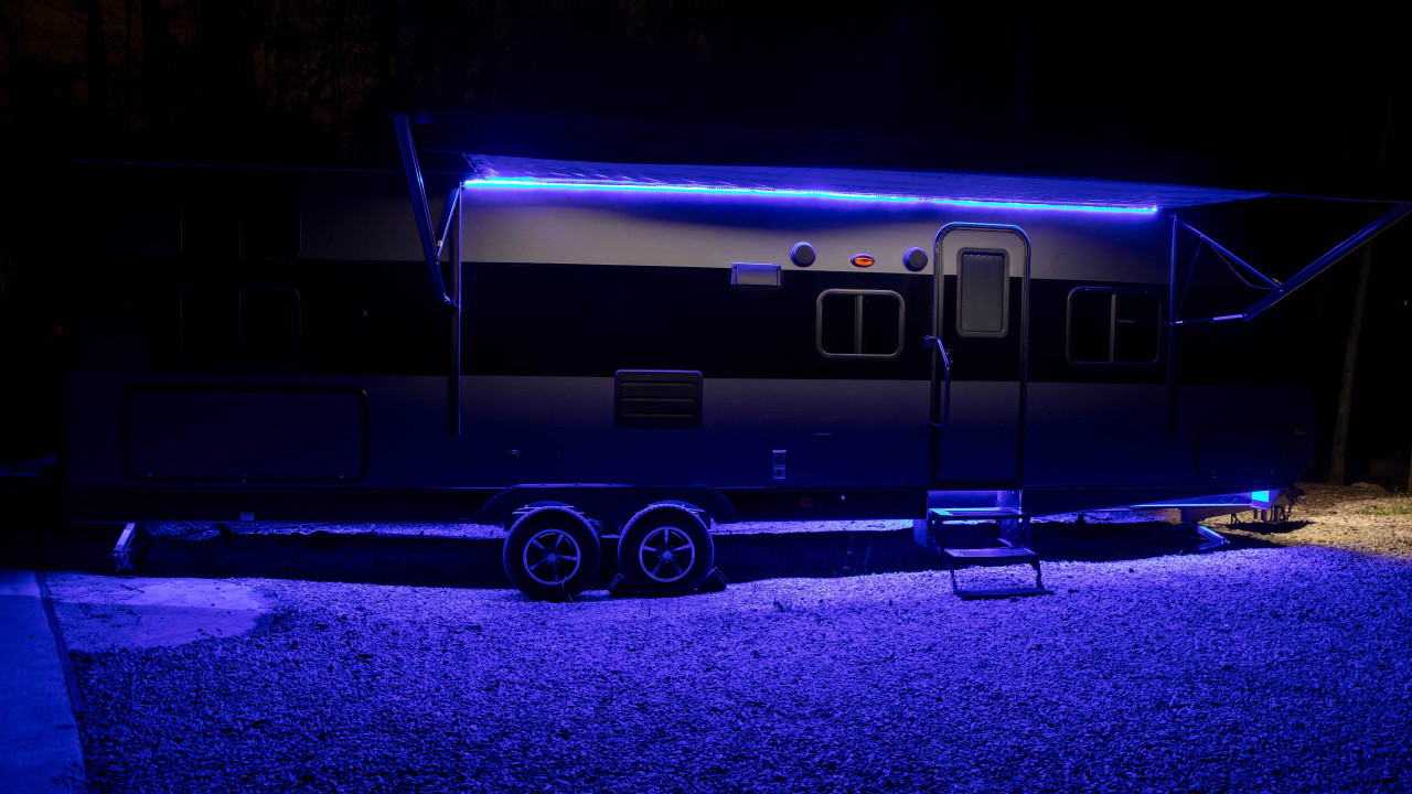 Picture shown has both pull behind under-glow and awning LED lighting.