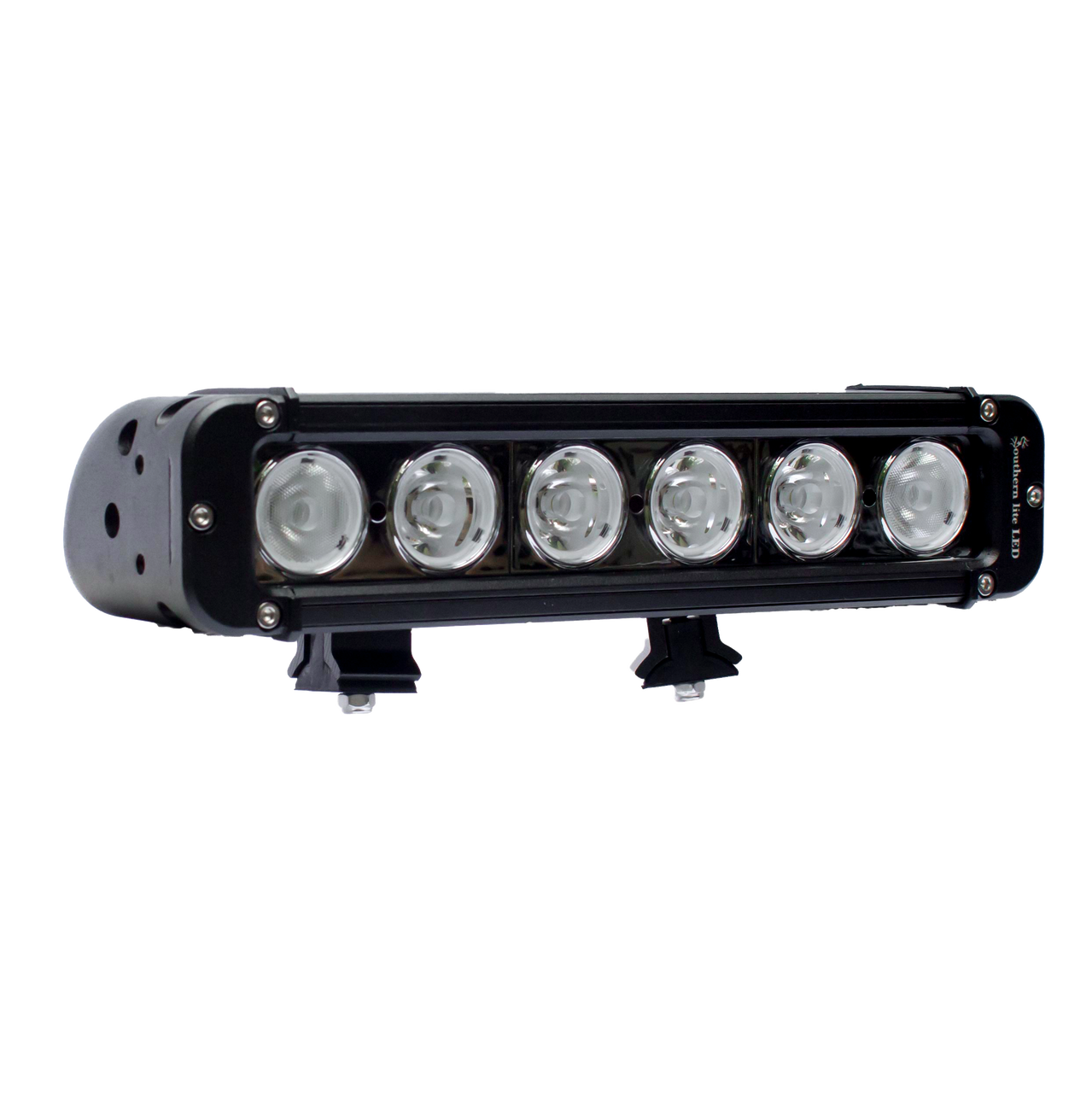 """Southern lite LED 11"""" (60 Watt) Single Row LED Light Bar, with slide track mounting and wire harness."""