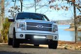 """Ford Platinum Eco boost with a 20"""" Led light bar in the grille with cree 10 watt bulbs with single row."""