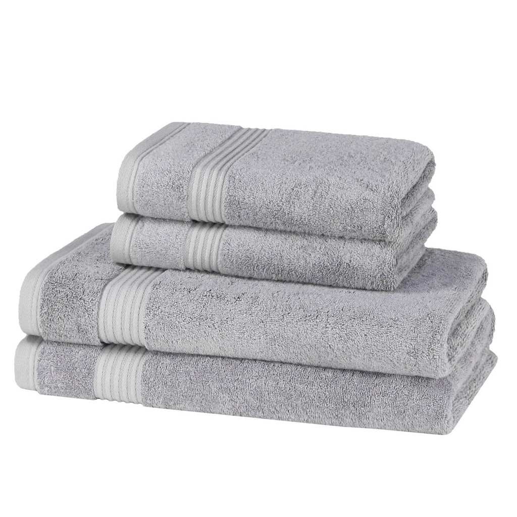 4 Piece 700GSM Bamboo Towel Set - 2 Hand Towels, 2 Bath Towels