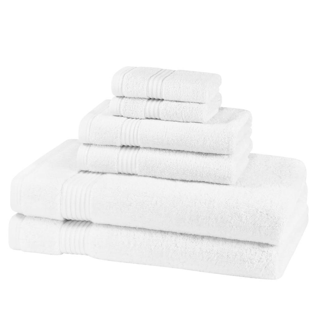 6 Piece 700GSM Bamboo Towel Set - 2 Face Cloths, 2 Hand Towels, 2 Bath Sheets