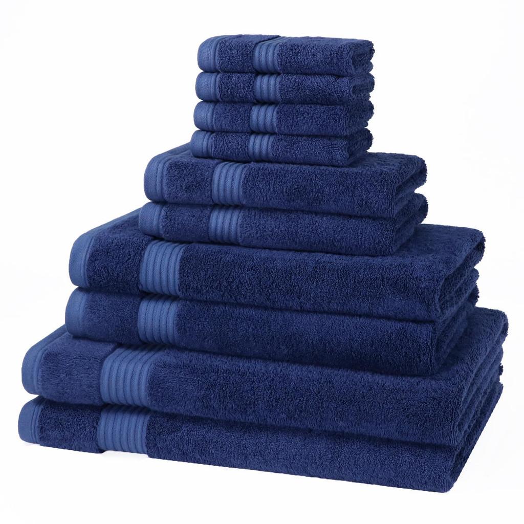 10 Piece 700GSM Bamboo Towel Set - 4 Face Cloths, 2 Hand Towels, 2 Bath Towels, 2 Bath Sheets