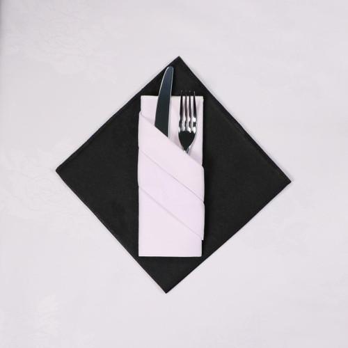 100percent Polyester Damask Rose White Napkins - 16x16