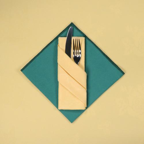 100percent Polyester Damask Rose Lemon Napkins - 16x16