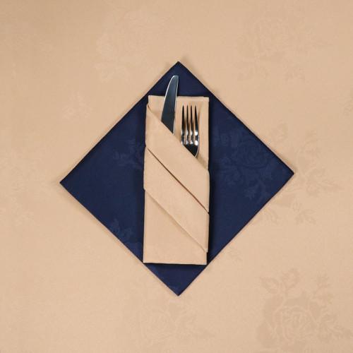 100percent Polyester Damask Rose Sandalwood Napkins - 16x16