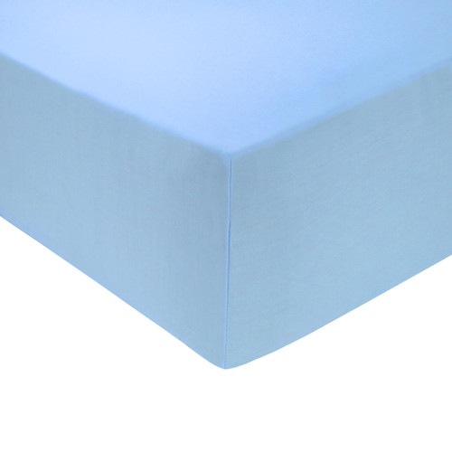 4 Foot Bed 68 Pick Polycotton Fitted Sheet - Light Blue