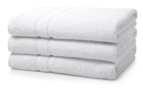 500 GSM Institutional/Hotel Bath Towels - Box of 24 White