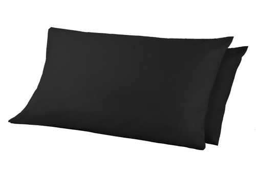 68 Pick Polycotton Pillowcases - Black Pack of 2