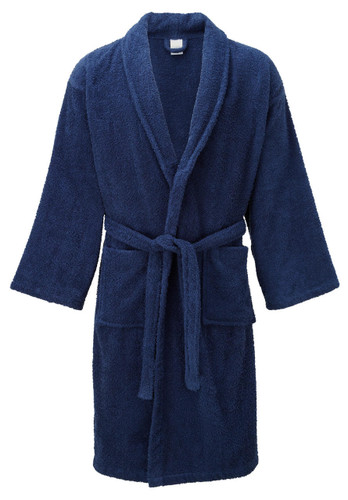 Navy Blue 100percent Cotton Terry Towelling Bath Robes