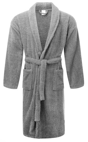 Grey 100percent Cotton Terry Towelling Bath Robes