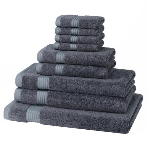 9 Piece 700GSM Bamboo Towel Set - 4 Face Cloths, 2 Hand Towels, 2 Bath Towels, 1 Bath Sheet
