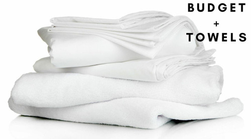 Budget Full Bedding Pack Towels - Includes Pillow, Duvet, Pillowcase, Duvet Cover, Fitted Sheet, Hand Towel and Bath Towel
