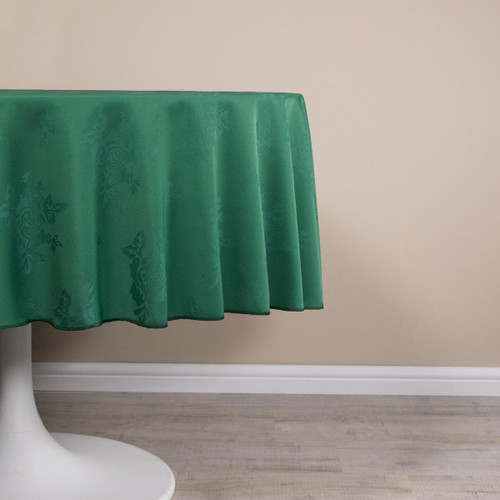 Circular Damask Rose Design Tablecloths / Napkins - 100percent Polyester