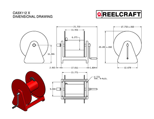 CH37112 M – 1 in. x 50 ft. Heavy Duty Hand Crank Hose Reel