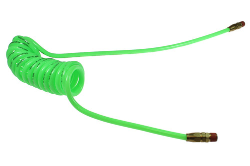 "Coilhose Pneumatics PR12-20B-G Flexcoil, .467"" x 20', 1/2"" NPT Reusable Swivel Fittings, Green"