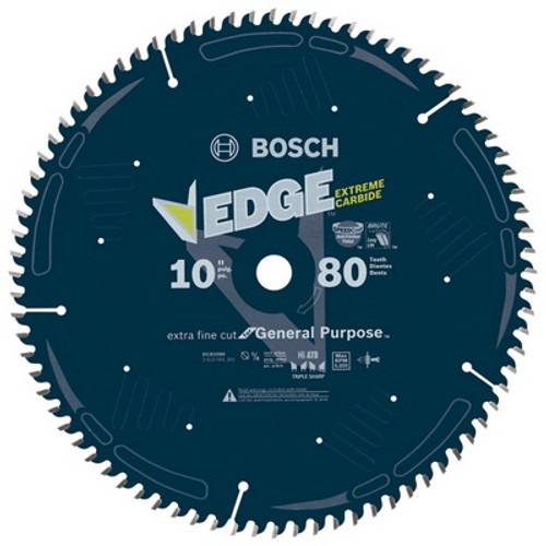 "BOSCH DCB1080 10"" 80 Tooth Edge Circular Saw Blade for Extra-Fine Finish"