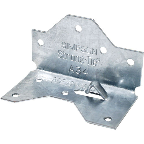 """Simpson Strong-Tie A34 1-7/16"""" X 2-1/2"""" Framing Angle, 18ga Wood Connector"""