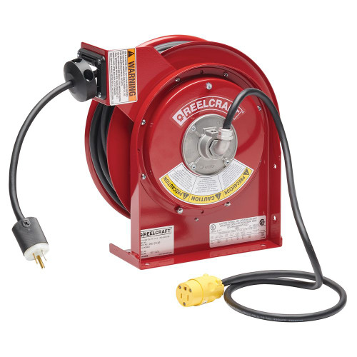 L 4050 163 3-RP – 16/3 50 ft. Single Receptacle Power Cord Reel
