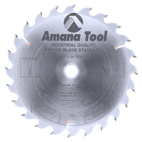 "Amana 612240 Carbide Tipped Ripping Standard 12"" D x 24T FT, 18 Deg, 1"" Bore, Circular Saw Blade"