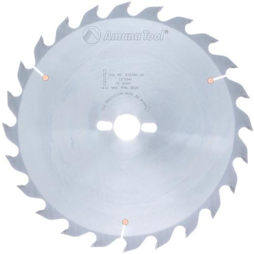 "Amana 612240-30 Carbide Tipped Ripping Standard 12"" D x 24T FT, 18 Deg, 30MM Bore, Circular Saw Blade"