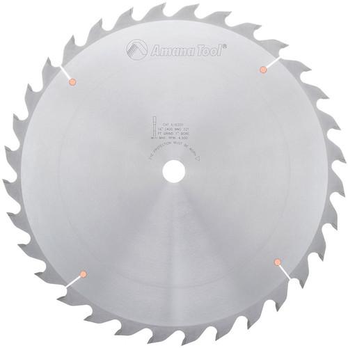 "Amana 616320 Carbide Tipped Ripping Standard 16"" D x 32T FT, 18 Deg, 1"" Bore, Circular Saw Blade"