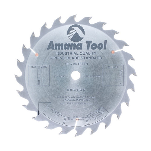 "Amana 610240 Carbide Tipped Ripping Standard 10"" D x 24T FT, 20 Deg, 5/8 Bore, Circular Saw Blade"