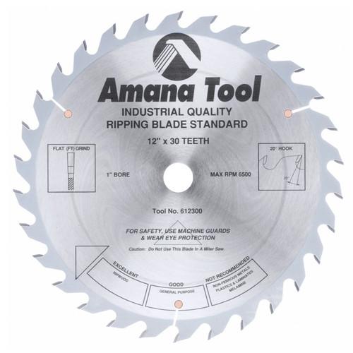 "Amana 612300 Carbide Tipped Ripping Standard 12"" D x 30T FT, 20 Deg, 1"" Bore, Circular Saw Blade"