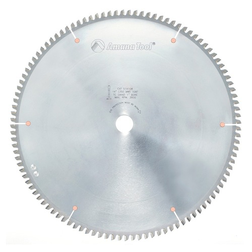 "Amana 514108 Carbide Tipped Aluminum and Non-Ferrous Metals 14"" D x 108T TCG, -6 Deg, 1"" Bore, Circular Saw Blade"