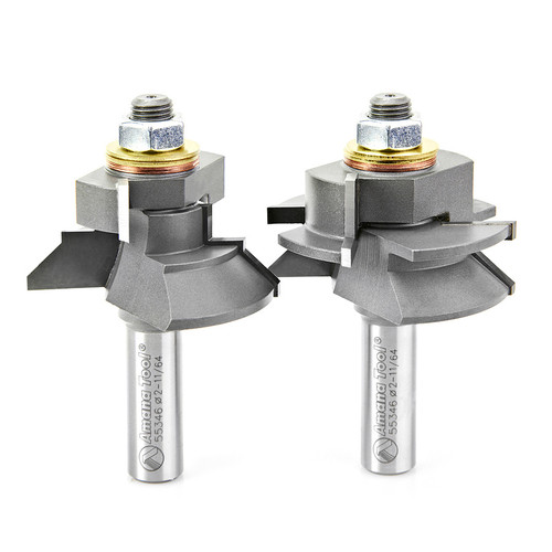 """Amana 55346 Carbide Tipped Adjustable V Panel 1-11/64 D x 1-1/8 CH x 1/2"""" Shank Router Bit"""