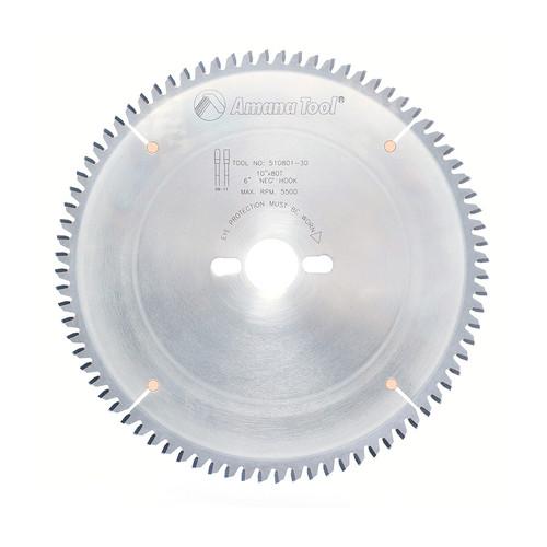 "Amana 510801-30 Carbide Tipped Aluminum and Non-Ferrous Metals 10"" D x 80T TCG, -6 Deg, 30MM Bore, Circular Saw Blade"