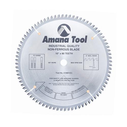 "Amana 510801 Carbide Tipped Aluminum and Non-Ferrous Metals 10"" D x 80T TCG, -6 Deg, 5/8 Bore, Circular Saw Blade"