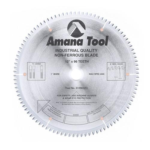 "Amana 512961 Carbide Tipped Aluminum and Non-Ferrous Metals 12"" D x 96T TCG, -6 Deg, 1"" Bore, Circular Saw Blade"