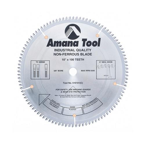"Amana 510101 Carbide Tipped Aluminum and Non-Ferrous Metals 10"" D x 100T TCG, -6 Deg, 5/8 Bore, Circular Saw Blade"
