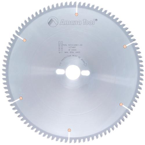"Amana 512961-30 Carbide Tipped Aluminum and Non-Ferrous Metals 12"" D x 96T TCG, -6 Deg, 30MM Bore, Circular Saw Blade"