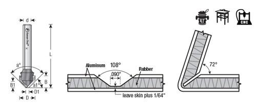 Amana 45797 V-Groove 108 Deg. Folding for ACM Panels Like Alucobond, Dibond, 0.090 Tip Cut Width x