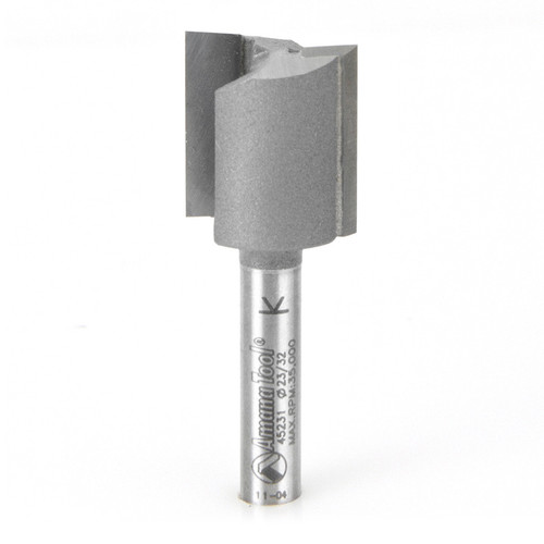 """Amana 45231 Carbide Tipped Undersized Plywood Dado Plunge 23/32 D x 3/4 CH x 1/4"""" Shank Router Bit for Plywood Thickness"""